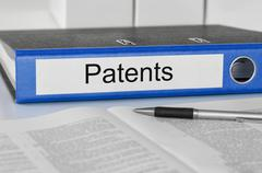 folder with the label patents - stock photo