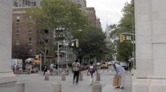 Washington Square Park Arch Homeless Empire State Building Manhattan NYC 4K - stock footage