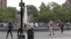 Washington Square Park Circle Fountain Manhattan New York City NYC 4K People - stock footage
