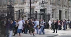 Tourists outside Downing Street in London, pan 4K Stock Footage