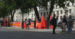 Chinese Premier Li Keqiang protest at Downing st 4K - stock footage