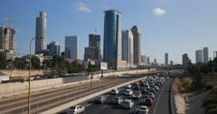 Tel Aviv - Israel - Metropolitan - Skyline / Highway - 24P - Cinematic DCI 4K Stock Footage