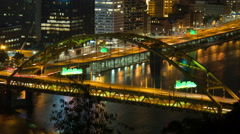 4K Pittsburgh Fort Pitt Bridge Night Timelapse 1 Stock Footage