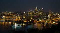 4K Pittsburgh Skyline Night Timelapse 2 Stock Footage