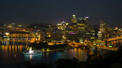 Pittsburgh Skyline Night Timelapse Zoom-in 2 Stock Footage