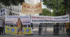 Protests in London at Chinese Premier Li Keqiang 4K Stock Footage
