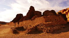 Chaco Culture 33 Time Lapse Tilt Up Pueblo Bonito Native American Ruins Sunset - stock footage