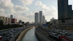 Tel Aviv - Israel - Metropolitan - Skyline / Ayalon Highway - 25P - UHD 4K Stock Footage
