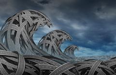 confusion storm - stock illustration