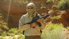 Terrorism cave afganistan terrorist patrol Stock Footage