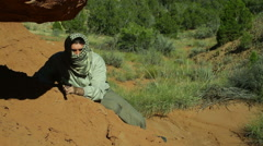 Terrorist fighting middle east Stock Footage