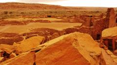 Chaco Culture 36 Pan Left Pueblo Bonito Native American Ruins Raining Stock Footage