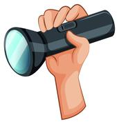 A hand with a flashlight - stock illustration