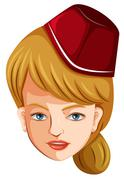 A head of a flight attendant - stock illustration