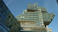 Futuristic bank building in Hannover Stock Footage