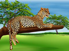 A leopard lying above the branch of a tree Stock Illustration