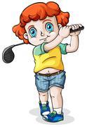 A Caucasian boy playing golf Stock Illustration