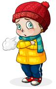A Caucasian baby feeling cold Stock Illustration