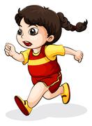 A young Asian female running Stock Illustration
