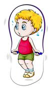 A young Asian boy playing skipping rope Stock Illustration