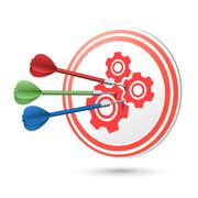 cooperation concept target with darts hitting on it - stock illustration