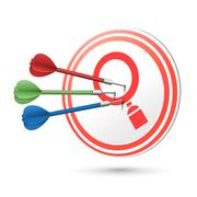 Search concept target with darts hitting on it Stock Illustration