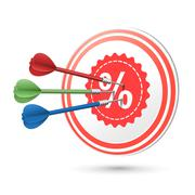 Sale concept target with darts hitting on it Stock Illustration