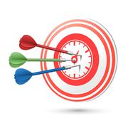 Time concept target with darts hitting on it Stock Illustration