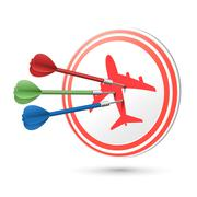Travel concept target with darts hitting on it Stock Illustration