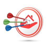 estate concept target with darts hitting on it - stock illustration