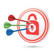 Security concept target with darts hitting on it Stock Illustration