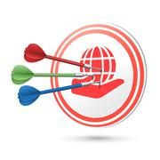 Web concept target with darts hitting on it Stock Illustration