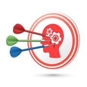 thinking concept target with darts hitting on it - stock illustration
