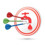water resource icon target with darts hitting on it - stock illustration