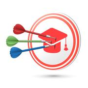 Graduation cap icon target with darts hitting on it Stock Illustration