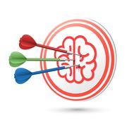 brain icon target with darts hitting on it - stock illustration