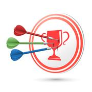 Achievement concept target with darts hitting on it Stock Illustration