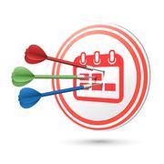 Calendar icon target with darts hitting on it Stock Illustration