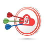 Online privacy concept target with darts hitting on it Stock Illustration
