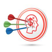 Financial concept target with darts hitting on it Stock Illustration