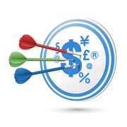 financial concept target with darts hitting on it - stock illustration
