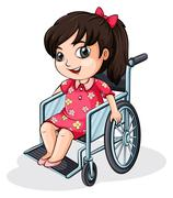 An Asian girl riding on a wheelchair - stock illustration