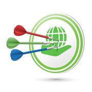 Eco icon target with darts hitting on it Stock Illustration