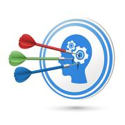 Thinking concept target with darts hitting on it Stock Illustration