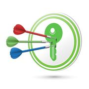 Key icon target with darts hitting on it Stock Illustration