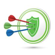success protection concept target with darts hitting on it - stock illustration