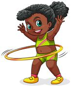 A young black girl playing with the hulahoop Stock Illustration