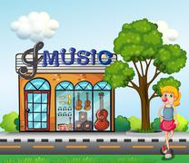 A young girl in front of the music store Stock Illustration
