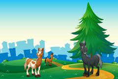 Stock Illustration of Three horses at the hilltop across the village