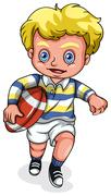 A young Caucasian boy playing rugby football Stock Illustration